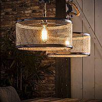 Industriële Dubbele Hanglamp 'Judi' met gaas en touw, 2 x 40cm